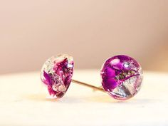 Tiny Real flower Stud Earrings Jewelry silver flake by RafFinesse