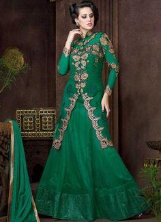 Green Embroidery Work Net Designer Fancy Lehenga Style Long Anarkali Suit #Anarkali #Churidar #Pakistani #Suit #Salwar #Bollywood http://www.angelnx.com/Salwar-Kameez