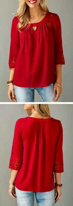 Three Quarter Sleeve Laser Cut Out Red Blouse. Pretty Outfits, Cool Outfits, Casual Outfits, Fashion Outfits, Womens Fashion, Blouse Styles, Blouse Designs, Trendy Tops For Women, Stitch Fix Outfits