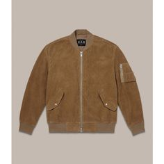 AllSaints Valley Bomber Jacket (€395) ❤ liked on Polyvore featuring men's fashion, men's clothing, men's outerwear, men's jackets, camel, mens corduroy jacket, mens zipper jacket, mens studded jacket, mens embroidered jacket and mens military jacket