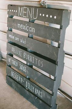 A distressed crate wedding menu. Photo Source: ruffled Good for a food van menu, painted in chalkboard paint