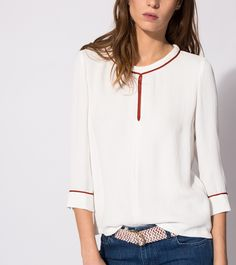 maje LAMIA Loose crepe top at Maje US