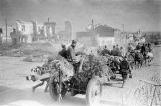 Soviet 122 mm howitzers in liberated Belgorod. 1943.