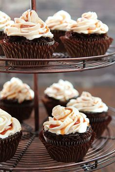 Guinness Chocolate Cupcakes with Irish Whiskey Frosting and a Bailey's Salted Caramel Drizzle. Perfect for St. Patrick's Day.