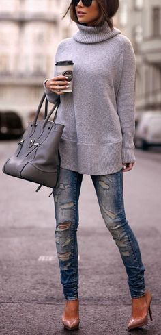 #fall #fashion / gray turtleneck knit + ripped denim