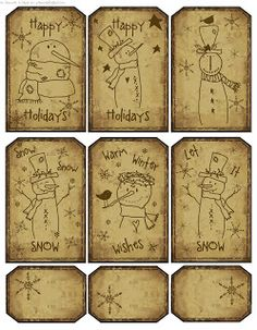 Rustic Country Snowmen Tags to Color free printable paper collage sheet images