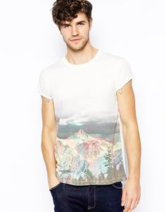 ASOS T-Shirt With Mountain Print And Roll Sleeve