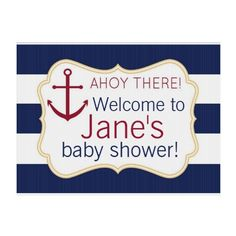 Shop Nautical Ahoy There Baby Shower Yard Sign created by dlrpartydesigns. Anchor Baby Showers, Elephant Baby Showers, Baby Shower Signs, Baby Boy Shower, Baby Shower Parties, Baby Shower Themes, Shower Party, Baby Party Favors, Custom Yard Signs