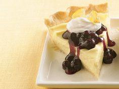 Lemon Cream Cheese-Blueberry Pie Recipe from Betty Crocker Lemon Cream Pies, Cream Cheese Pie, Cream Cheeses, Lemon Desserts, Just Desserts, Delicious Desserts, Yummy Food, Pie Dessert, Dessert Recipes