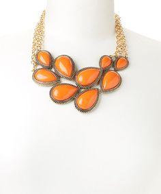 Look what I found on #zulily! Orange & Gold Triple Chain Link Bib Necklace #zulilyfinds