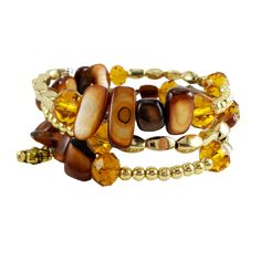 Memory Wire Wrap Bangle Brown/Gold