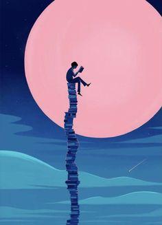 Illustration and Animation Art And Illustration, Book Wallpaper, Scenery Wallpaper, Wallpaper Backgrounds, Reading Wallpaper, Fantasy Kunst, Fantasy Art, Reading Art, Anime Scenery