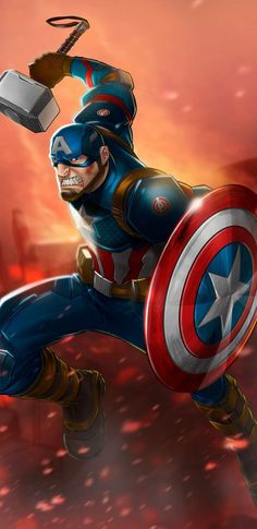 Captain America Mjolnir Art iPhone Wallpaper - iPhone Wallpapers