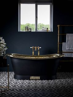 The Brass Bateau With Charcoal Exterior by Catchpole & Rye #Luxury #Bathroom #Design