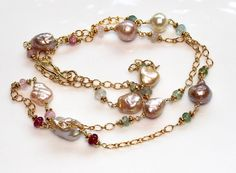 Pearl Station Afghani Tourmaline Pink Green Aqua Gold Necklace