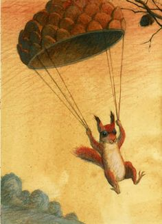 "Squirrel by Maurizio Quarello. ""Paratrooper Squirrel.  NUTS FROM ABOVE."""