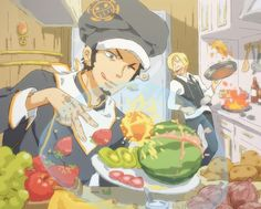 Law using his Devil Fruit power to cut fruit xD this is awesome! Best picture of Sanji and Law.