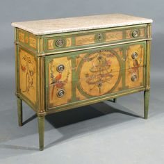 A Late 18th Century French Marble Topped Commode (c. 1820 France)