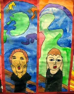 Dali's Moustache: Munch Scream Self Portraits Art Lessons For Kids, Artists For Kids, Art Lessons Elementary, Scream, 2nd Grade Art, Dragonfly Art, Ecole Art, School Art Projects, Middle School Art