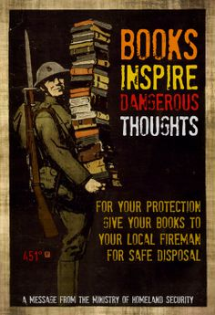 Beware of books. Fahrenheit 451 by Ray Bradbury. Books To Read, My Books, Fahrenheit 451, Book Nooks, Book Lovers, American, Science Fiction, Book Art, Novels