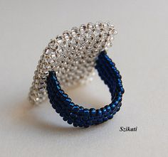 Elegant Dark Blue/Crystal Statement Seed Bead Cocktail by Szikati