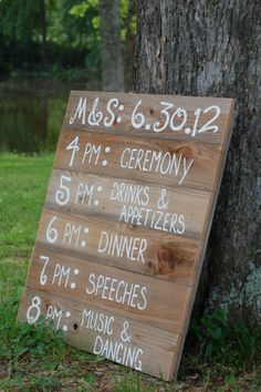 Adorable sign showing the schedule of the wedding! This would be adorable at a lakeside wedding at Lanier Islands!