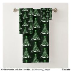 Modern Green Holiday Tree Motif Bath Towel Set Bath Towel Sets, Bath Towels, Christmas Decorations, Holiday Decor, Holiday Tree, Christmas Items, Holiday Outfits, Christmas Card Holders, Keep It Cleaner