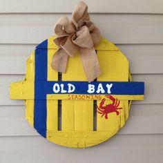 Old Bay Eastern Shore Hand Painted Crab Bushel by Shoregoose