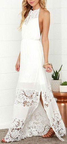 white halter backless crochet lace maxi dress ❤︎ #beach #wedding