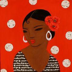 DIADIA: flamenca, flamenco dancer, red illustration