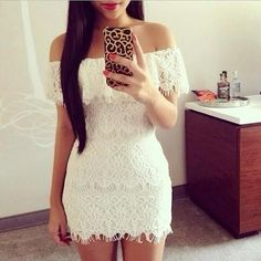 Off The Shoulder Short Sleeve White Lace Mini Dress