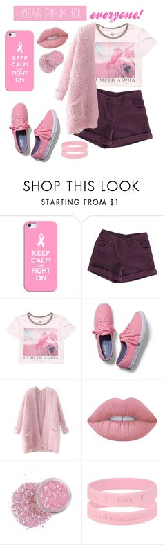 """""""everyone who has breast cancer"""" by beingmyselfaf ❤ liked on Polyvore featuring Casetify, Billabong, Keds, Chicnova Fashion, Lime Crime and IWearPinkFor"""