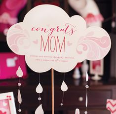 Showered With Love Baby Shower {Part 1: Table & Decor} // Hostess with the Mostess®  Pink umbrella   Girl baby shower