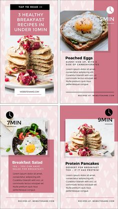 Healthy Breakfast Recipes Design - Instagram Story Template Designs 10 Ways - Hack Your Visual Design Series #InstagramStories #InstagramTips #Templates Graphic Design Tips, Logo Design, Instagram Story Template, Brand Board, Color Theory, Food And Drink, Layouts