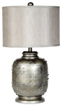 Iron table lamp in metallic silver with a fabric drum shade and switch. Table Lamp, Lamp Shade Store, Table, Industrial Table Lamp, Silver Table Lamps, Beautiful Lighting, Drum Shade, Candle Stand, Mason Jar Lamp
