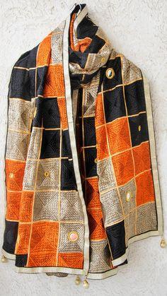 Bagh Black Beige and Orange Phulkari Parantha Embroidery with Mirrorwork Dupatta