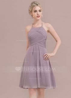 [US$ 88.49] A-Line/Princess Scoop Neck Knee-Length Chiffon Bridesmaid Dress With Ruffle