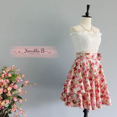 Spring's Whisper Floral Skirt Spring Summer Sweet Red Pink Floral Skirt Party Cocktail Skirt Wedding Bridesmaid Skirt Red Floral Skirts