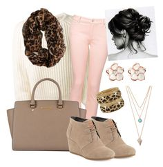 Fall/Winter Color: Light Brown by kristyivette on Polyvore featuring polyvore, fashion, style, Leetha, Witchery, TOMS, MICHAEL Michael Kors, Shaun Leane and With Love From CA