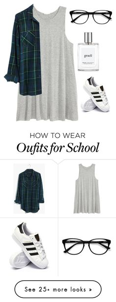 """""""School"""" by brittroe on Polyvore featuring H&M, Madewell, EyeBuyDirect.com, adidas and philosophy"""