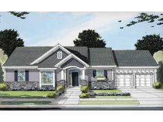 Eplans House Plan: This three bedroom, two bath home offers high ceilings, gas fireplace, and great views to the rear yard. Stone and siding decorate the exterior adding color and texture to the facade.