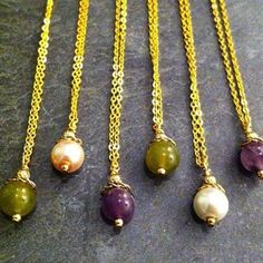 "ROX - Easter Pops  Amethyst, Jade and Swarovski glass pearl necklaces.  17"".  Gold and Silver plate."