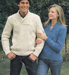 His n hers aran cable sweater pdf jumper adult man woman's vintage knitting…