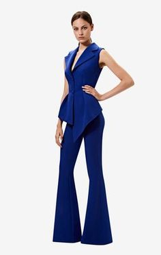 V-neck, peplum top with lotus sleeve drape in skiathos blue. Styled with the skiathos blue Halluana trousers. Suits For Women, Women Wear, Safiyaa, Skiathos, Party Suits, Blue Trousers, Dress Suits, Wide Leg Jeans, Size Model