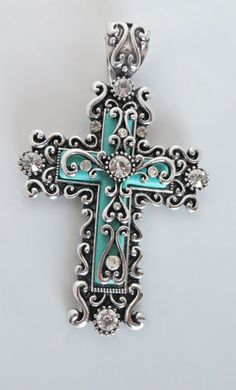 COWGIRL Bling Silver SCROLL CROSS TURQUOISE RHINESTONES Gypsy PENDANT  baha ranch western wear www.baharanchwesternwear.com ebay seller id soloedition