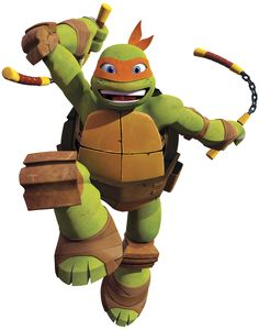 Bring the fun-loving Mikey into any Teenage Mutant Ninja Turtles fan's bedroom or playroom with this giant wall decal. This huge wall graphic of Michelangelo is easy to apply, remove, and reposition. It sticks firmly to any smooth surface, and can be safely removed and reused without any damage or peeled paint. A great pick for longtime TMNT fans and newbies alike.