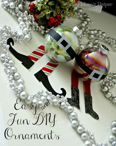 Easy and Cute DIY Ornaments - Elf & Santa. from www.BusyMomsHelper.com