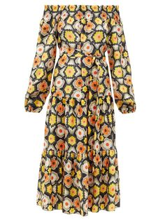 Temperley London Crochet off-the-shoulder silk midi dress Yellow Midi Dress, Silk Midi Dress, Tiered Skirts, Temperley, Satin Dresses, Floral, Off The Shoulder, Bridesmaid Dresses, Pure Products