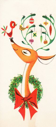 Vintage Illustration Two Crazy Crafters: Vintage Christmas Cards Merry Christmas, Christmas Deer, Christmas Crafts, Christmas Holidays, Modern Christmas, Christmas Design, Rudolph Christmas, Christmas Mantles, Preschool Christmas