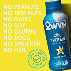 OWYN 100% Plant-Based Vegan Allergen-Friendly Protein-Shake, 12 Ounce, 12 Count (Variety Pack) Tree Nut Allergy, Peanut Tree, Nut Allergies, Protein Supplements, Grocery Lists, Protein Shakes, Plant Based, Count, The 100